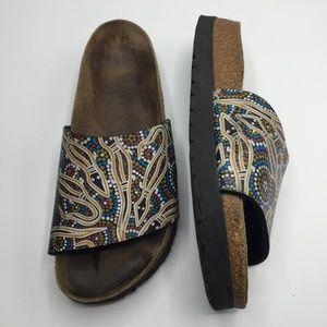 Birkenstock Dot Tribal Leather Slide Sandals